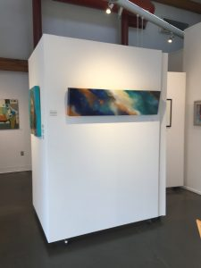 "Federation Gallery Artist Choice Exhibition. Dynamic Light 12"" x 48"" Acrylic and Swarovski Crystal on Panel."